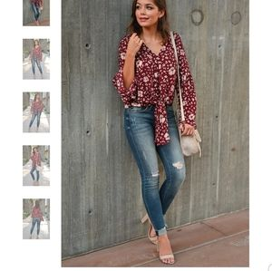 Tie front blouse in wine